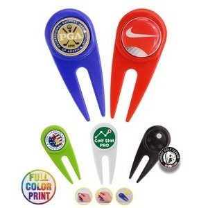 Golf Divot Tool w/ Metal Ball Marker -Full Color