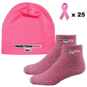 Performance Spandex Beanie, Fuzzy Feet Slipper Socks and Pink Embroidered Ribbon Stickers Combo